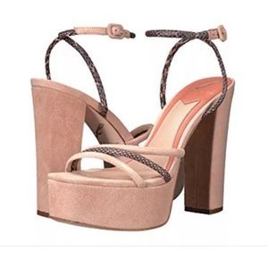 Brian Atwood Nude Suede Heels